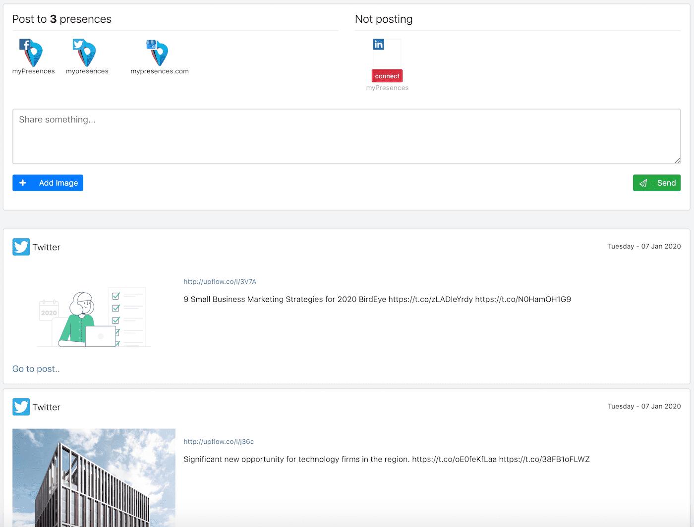myPresences social page screenshot