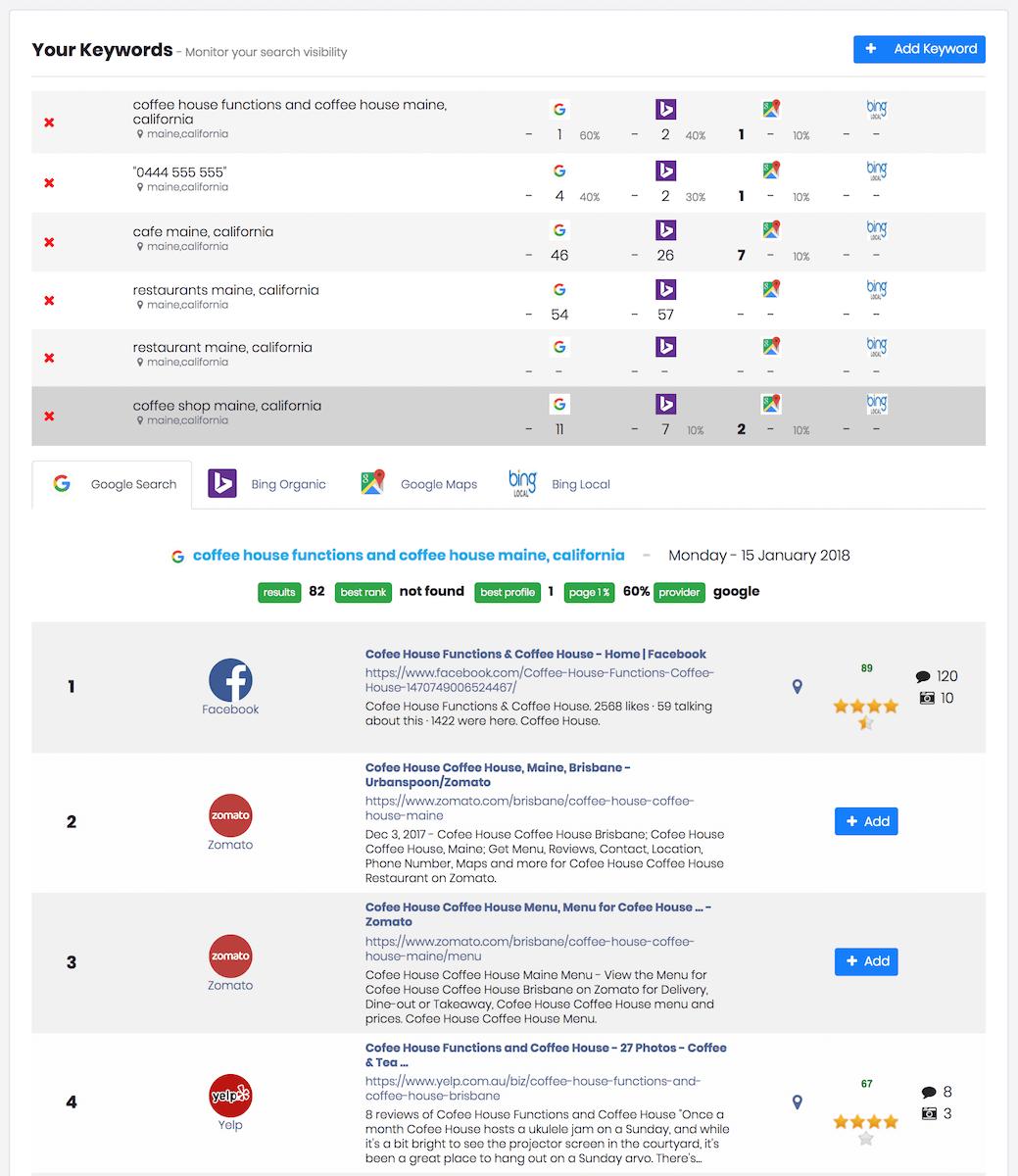 myPresences visibility page screenshot