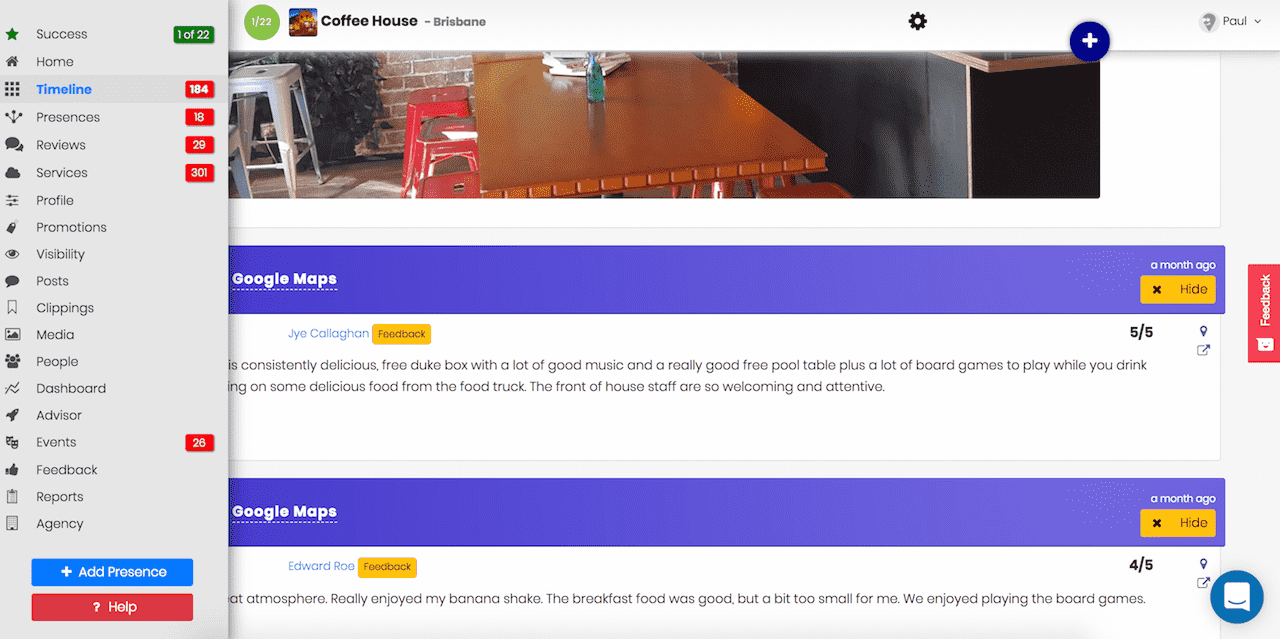 myPresences timeline screenshot